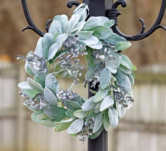 Photo of Lambs Ear Eucalyptus Wreath Greenery Wreath with Silver-Slate Color Eucalyptus Accents Wedding Home