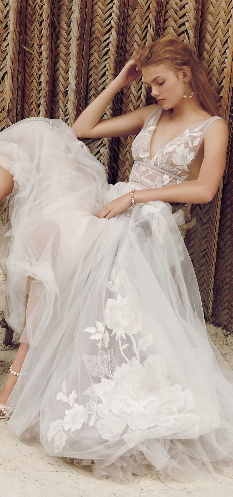 Floral Tulle Wedding Gown Wedding Dresses Whimsical Romantic