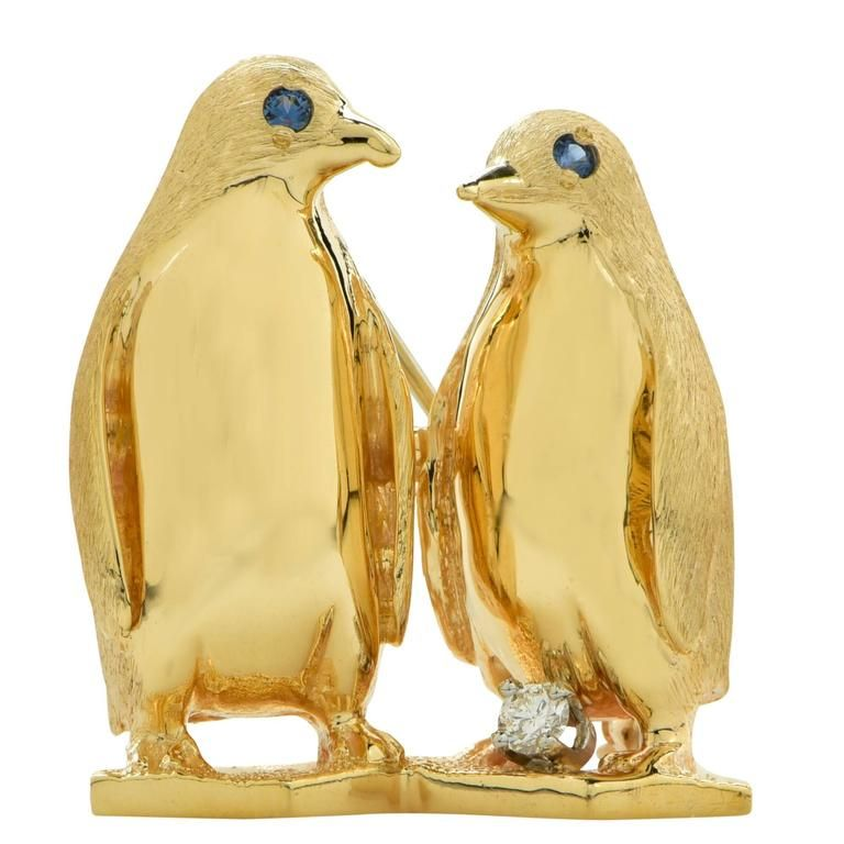 tone and swarovski wildlife image crystal leader the enamel penguin brooches brooch follow silver
