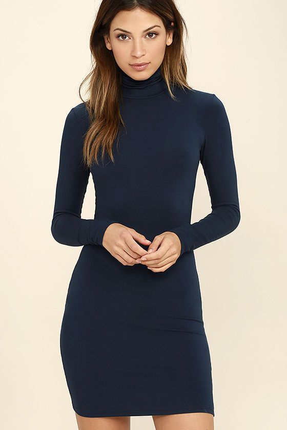 High Hopes Navy Blue Long Sleeve Bodycon Dress  f67b4d19e21d