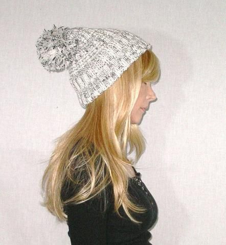 9df0dcc992c Beanie With Pom Pom Black White Marled Thick Plush Cuffed Stocking Cap  Confetti Speckled Chunky Winter