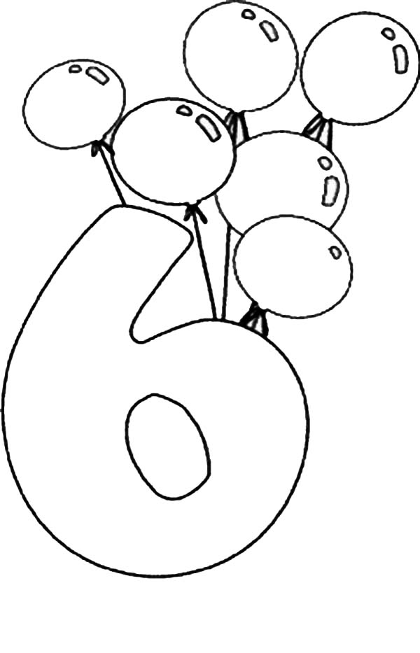 Birthday Balloons And Number 6 Coloring Page Bulk Color Birthday Coloring Pages Coloring Pages Teddy Bear Coloring Pages