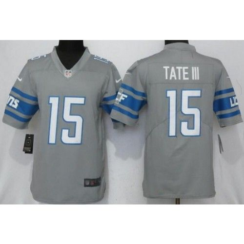 Men s Detroit Lions  15 Golden Tate III Limited Gray 2017 Rush Jersey 9a563e4bb