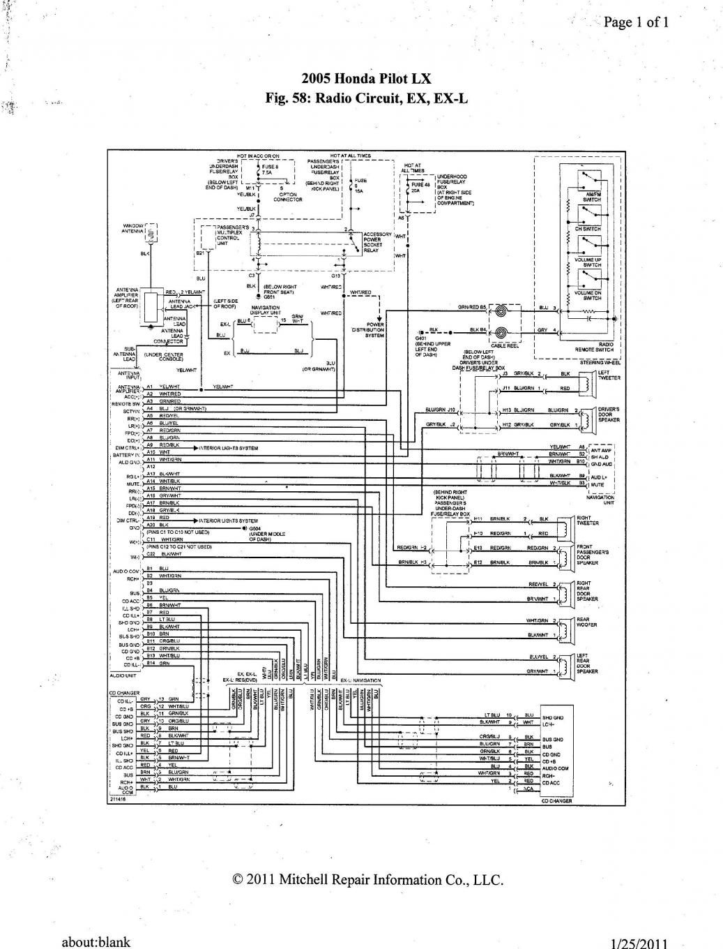 2005 Honda Wiring Diagram Just Data 2008 Rancher Pilot Ex L Radio In Vt750