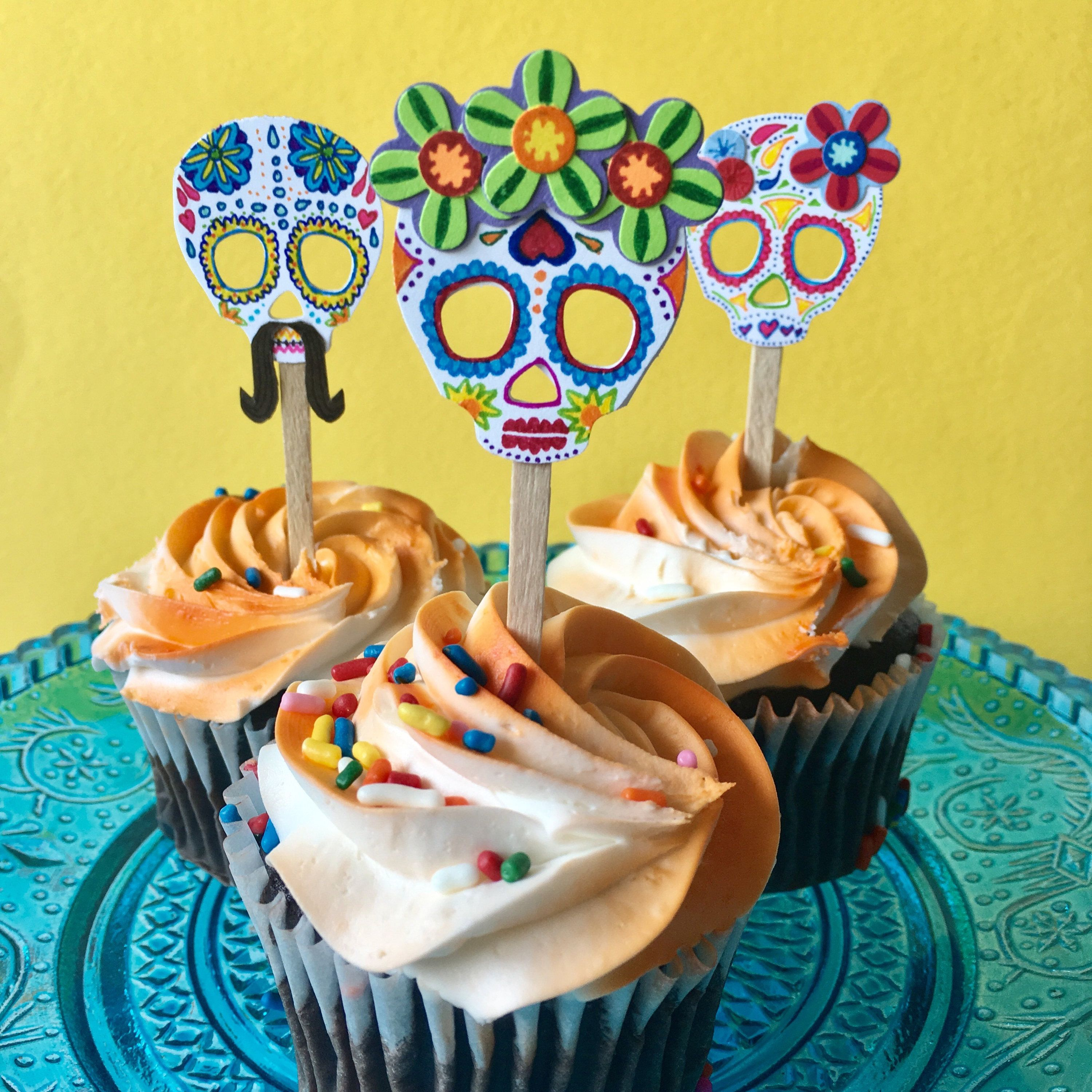 Sugar Skull Cupcake Toppers - Coco Movie Inspired Cupcake ...