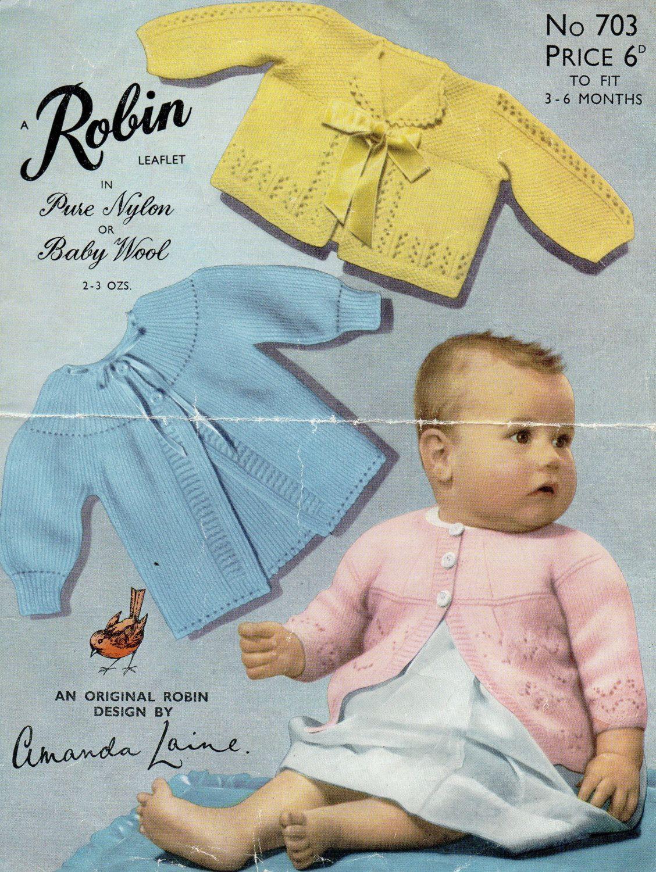 PDF Robin 703 Vintage Baby Knitting Pattern 3-6 months Cardigans ...