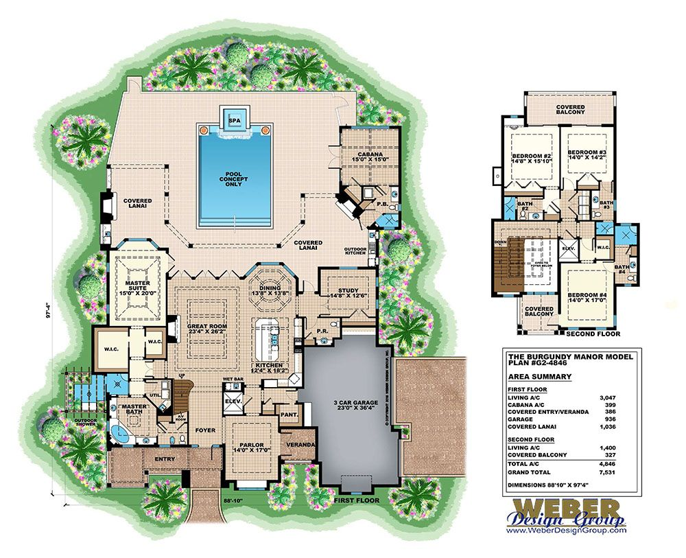 Burgundy Manor House Plan In 2020 House Plans Country House