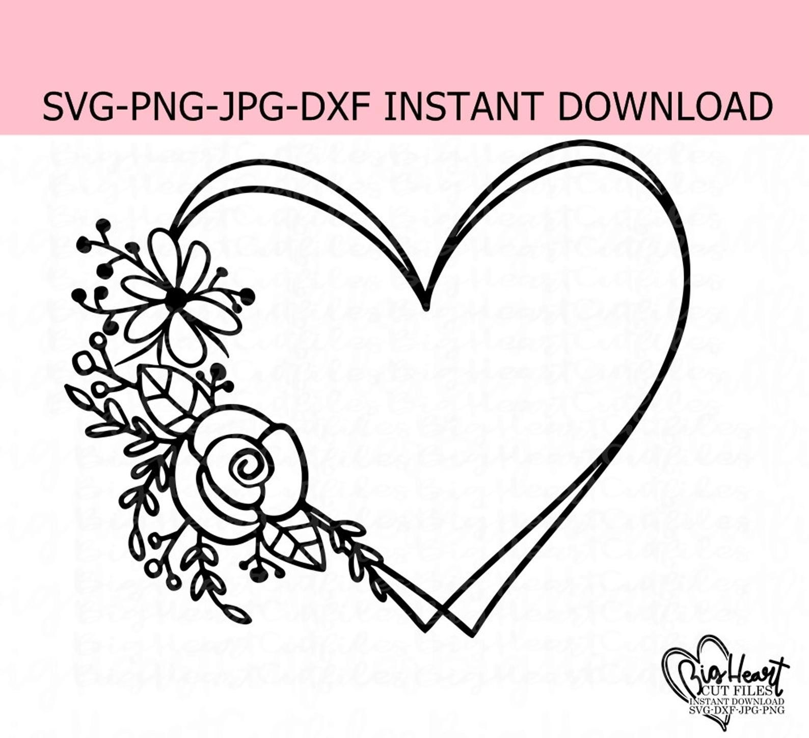 Floral Heart Wreath Svg Png Jpg Dxf Heart Wreath Svg Flower Wreath Monogram Frame Floral Double Monogram Frame Svg Silhouette Cricut Monogram Frame Wreath Drawing Embroidery Patterns