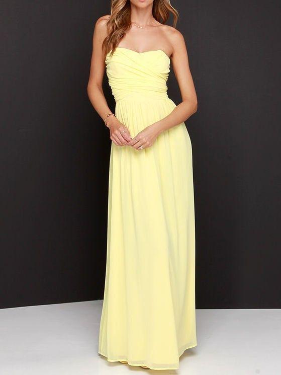 Lemon Strapless Maxi Dress   Jr