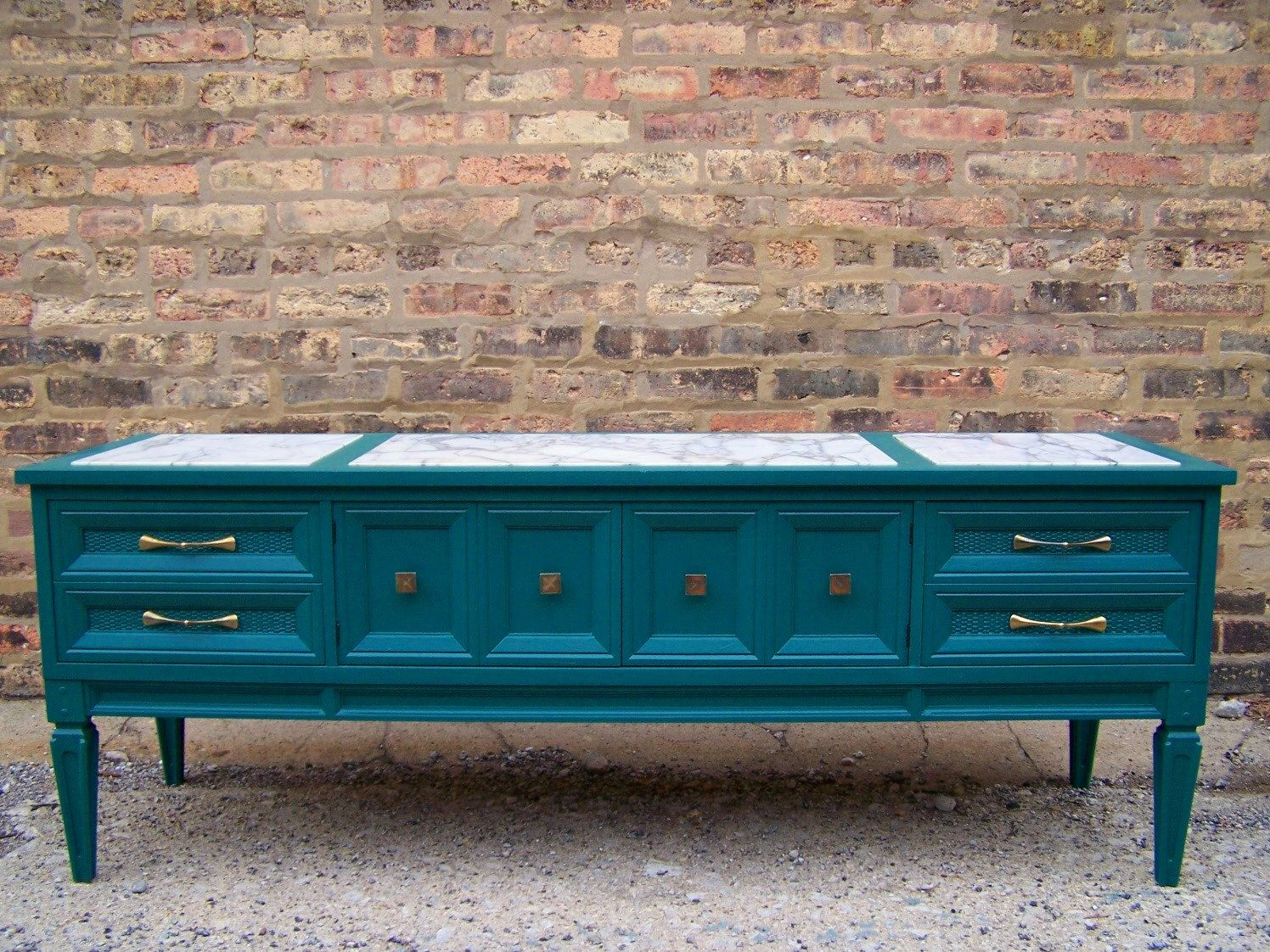 Genial Marble Top Media Console In A Perfect Teal. $399.00, Via Etsy.