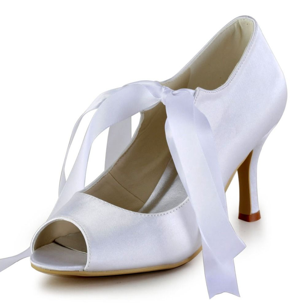 Click to buy ucuc women shoes ep white satin bride pumps shoes