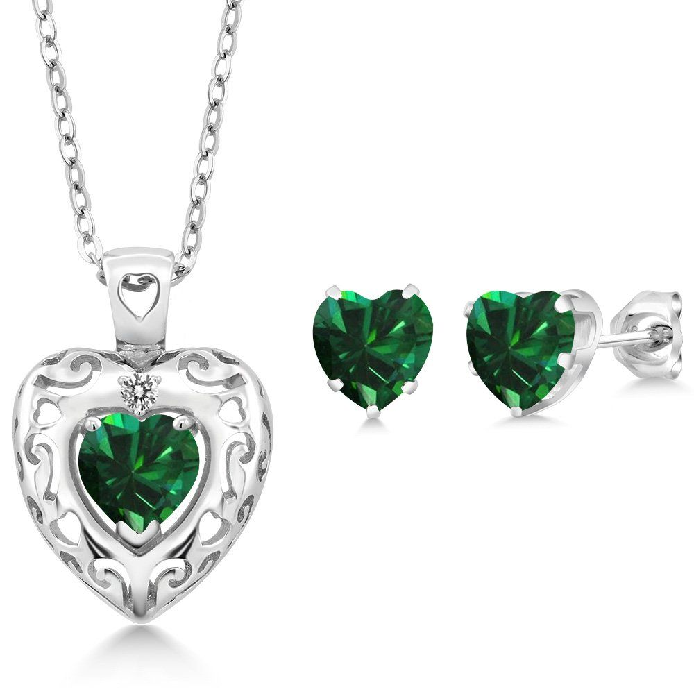 ct green simulated emerald white diamond sterling silver