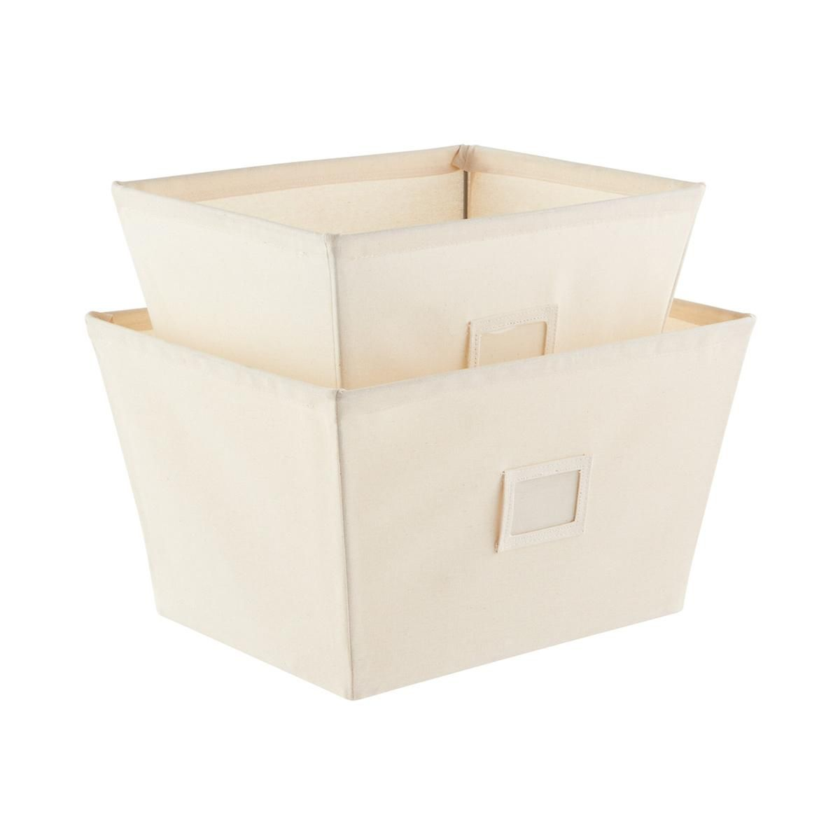 Natural open canvas storage bins with labels organizing and storage