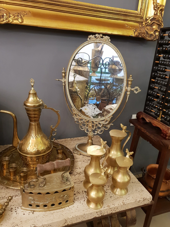 Vintage Large Brass Dressing Table Mirrorfrench Brass Vanity Etsy Dressing Table Mirror Mirror Table Vintage Large