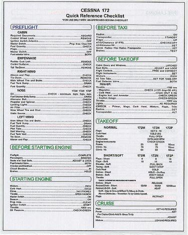 Topseller Cessna Skyhawk C172 C 172 Checklist 9 95 With Images