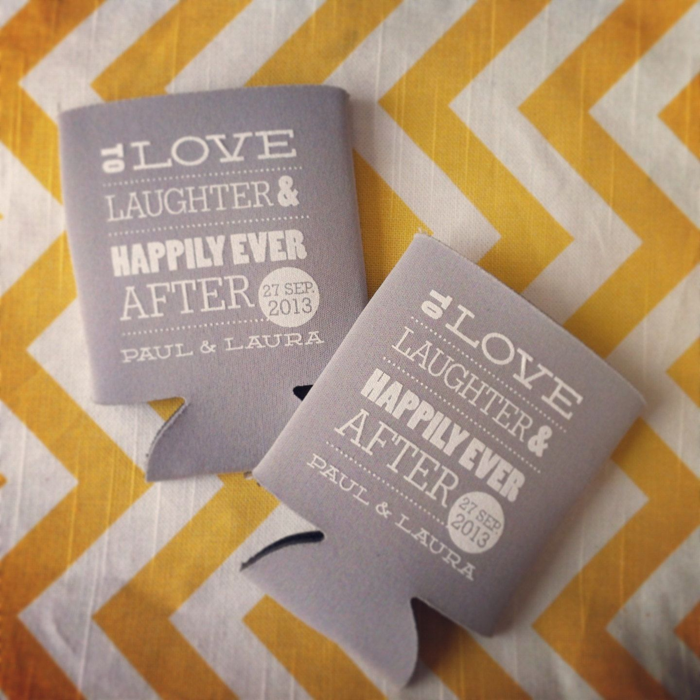200 To Love Laughter and Happily Ever After Wedding Koozies