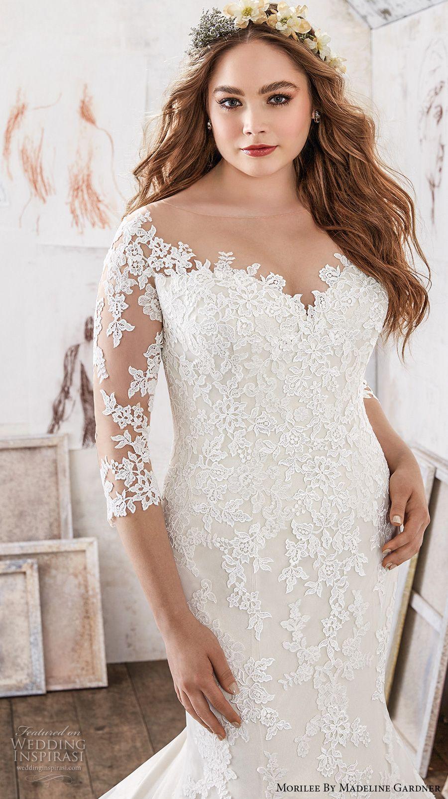 e62408300095b morilee julietta spring 2017 bridal three quarter sleeves sweetheart  neckline full embellished romantic classic princess plus size mermaid wedding  dress v ...