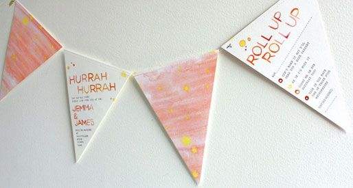 watercolor bunting wedding invites via Invitation Crush Paper
