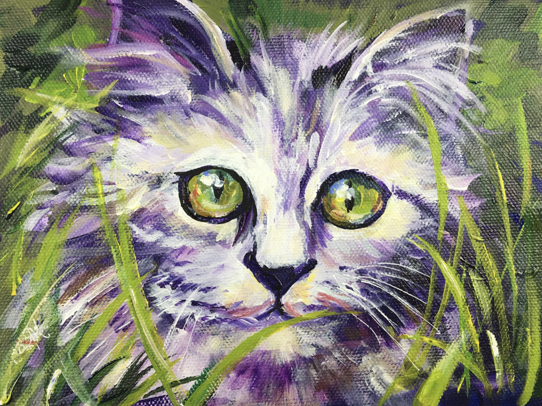Jungle Kitty Kitten is a 6x8 acrylic painting. Print out