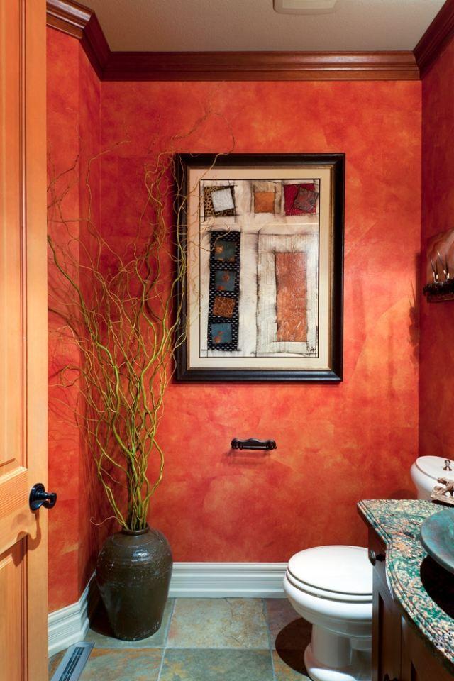 maltechniken farbeffekte wand badezimmer orange cuartos