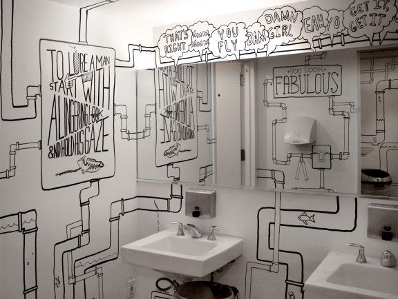 Goodman shows the ladies whats up in the ADC Hotel Bathroom in NYC. Because, girl- you fly.