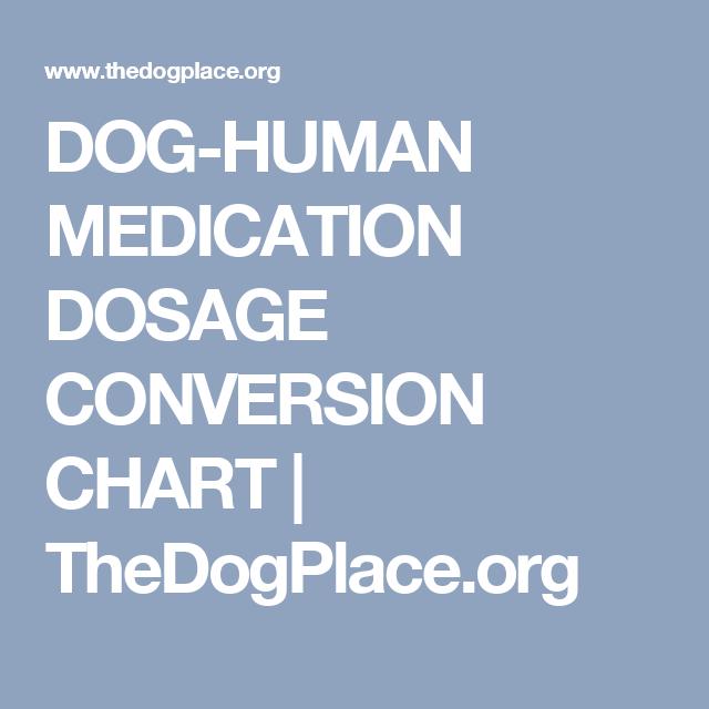 DOG-HUMAN MEDICATION DOSAGE CONVERSION CHART   TheDogPlace