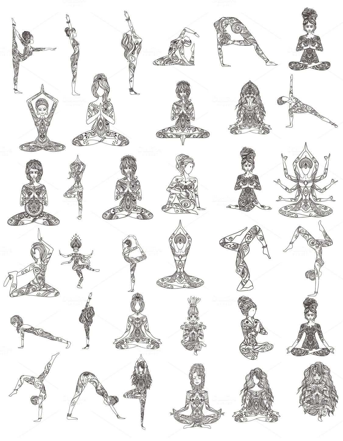 a40455d157547 Set 35 YOGA Poses. Vector by anvino on Creative Market | Icons ...