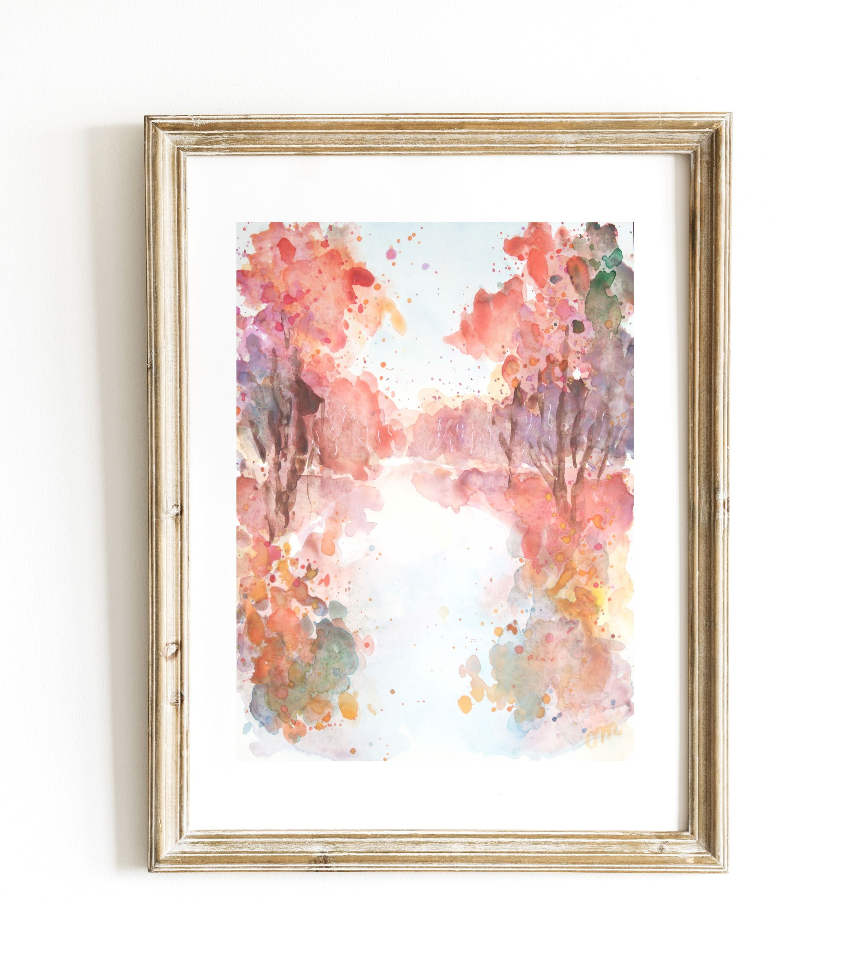 Original Watercolor Painting Fall Abstract Made By Oksana