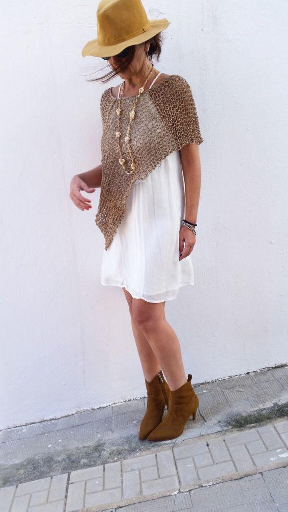Boho chic poncho , summer knit poncho, beach boho cover, brown knit ...