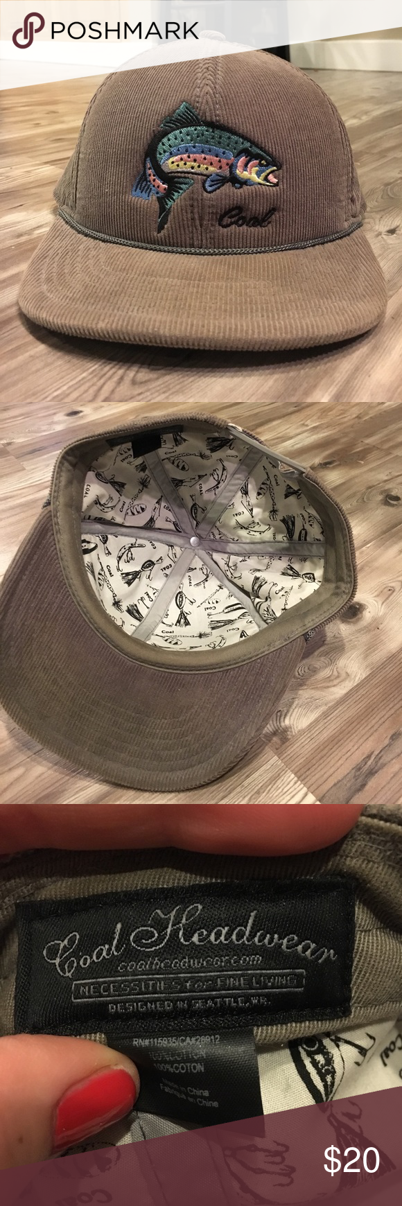 Coal brand SnapBack men s hat. Coal brand. Gray corduroy men s hat with a  fish sewn on. Great condition- only worn a few times. Coal Accessories Hats fdeca51d423
