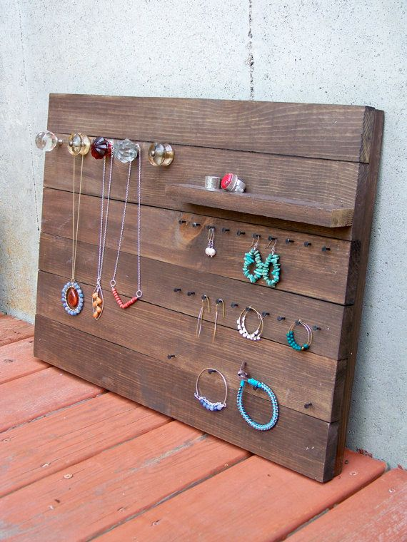 Reclaimed Wood Jewelry Organizer Reduce Reuse Recycle Littlebearprod Www Little Bear Productions Com Jewellery Display Wood Jewellery Projects