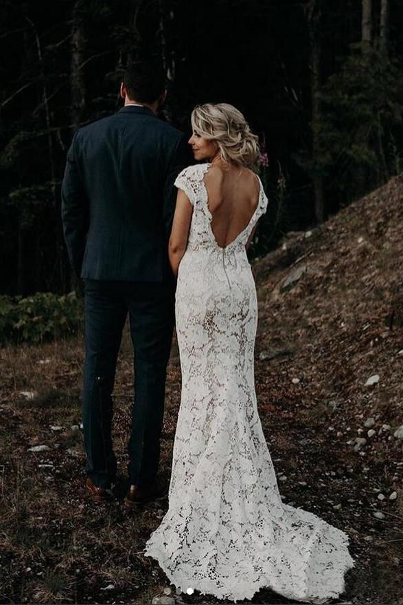 Charming Mermaid Lace Ivory Cap Sleeves Wedding Dresses, Bridal Dresses SSA15569