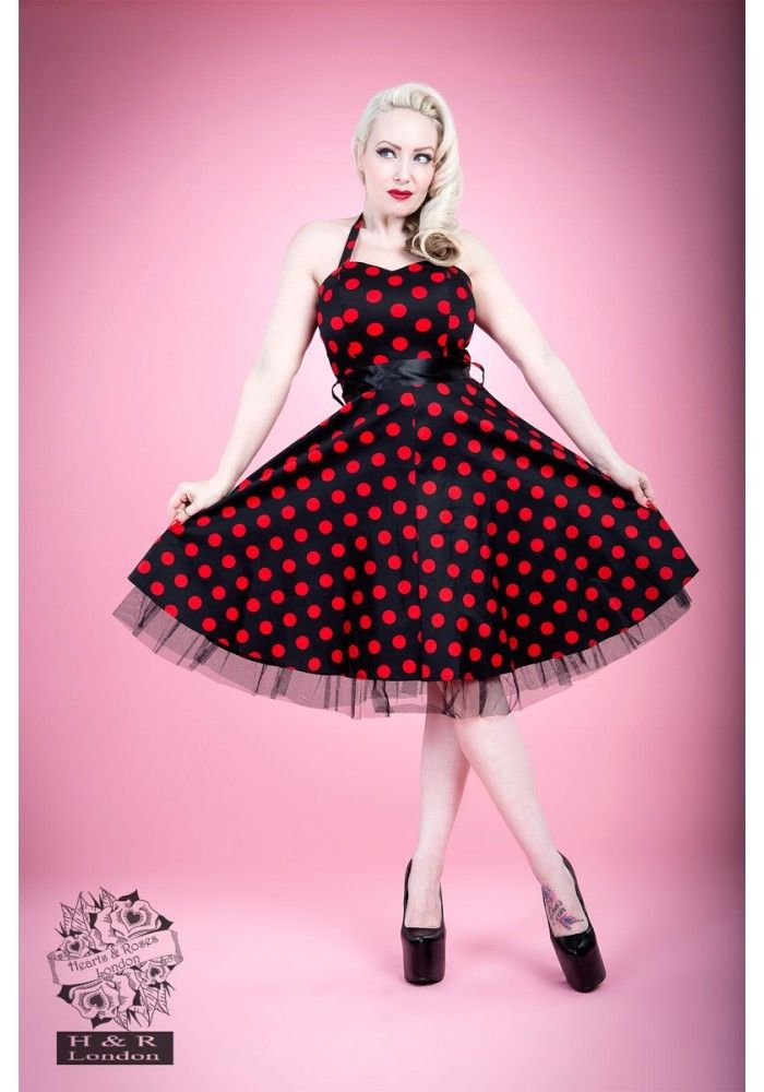 Robe rockabilly rouge pois blanc