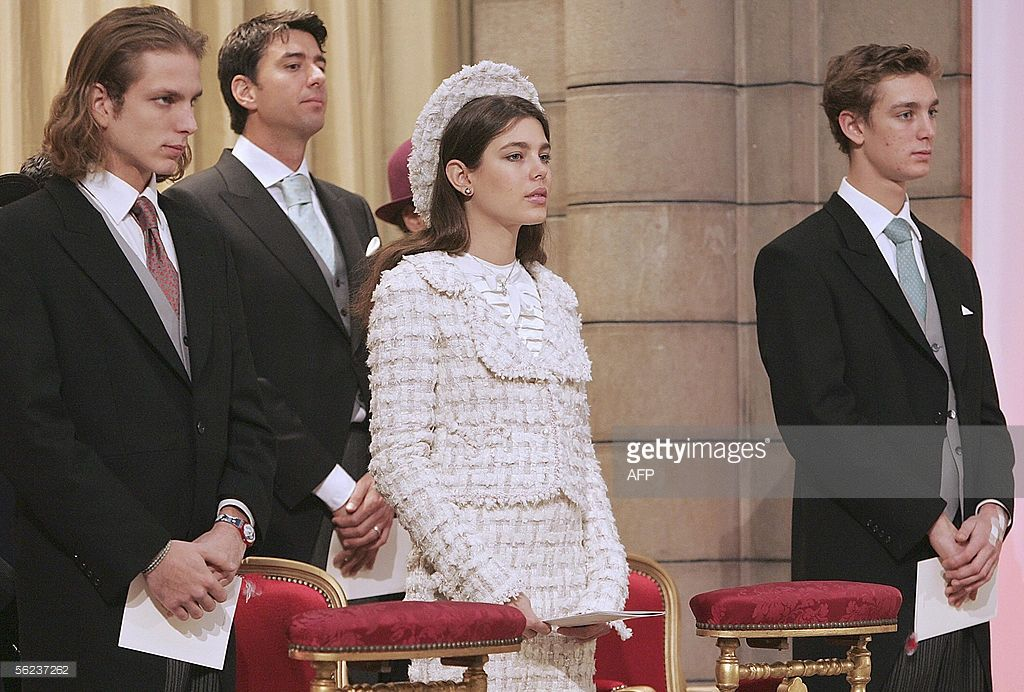 Andrea Casiraghi (L), Sebastien Knecht de Massy (2nd L-Princess Antoinette's grandson), Charlotte and Pierre Casiraghi attend a Pontifical Mass for the investiture of Albert II of Monaco, celebrated in the presence of 15 foreign delegations, 19 Novembre 2005 at Monaco's 19th century Cathedral. Prince Albert II of Monaco, 47, took the throne of the microstate of 32,000 inhabitants as head of the Grimaldi line, after his father Prince Rainier III died in April. AFP PHOTO PASCAL GUYOT/POOL