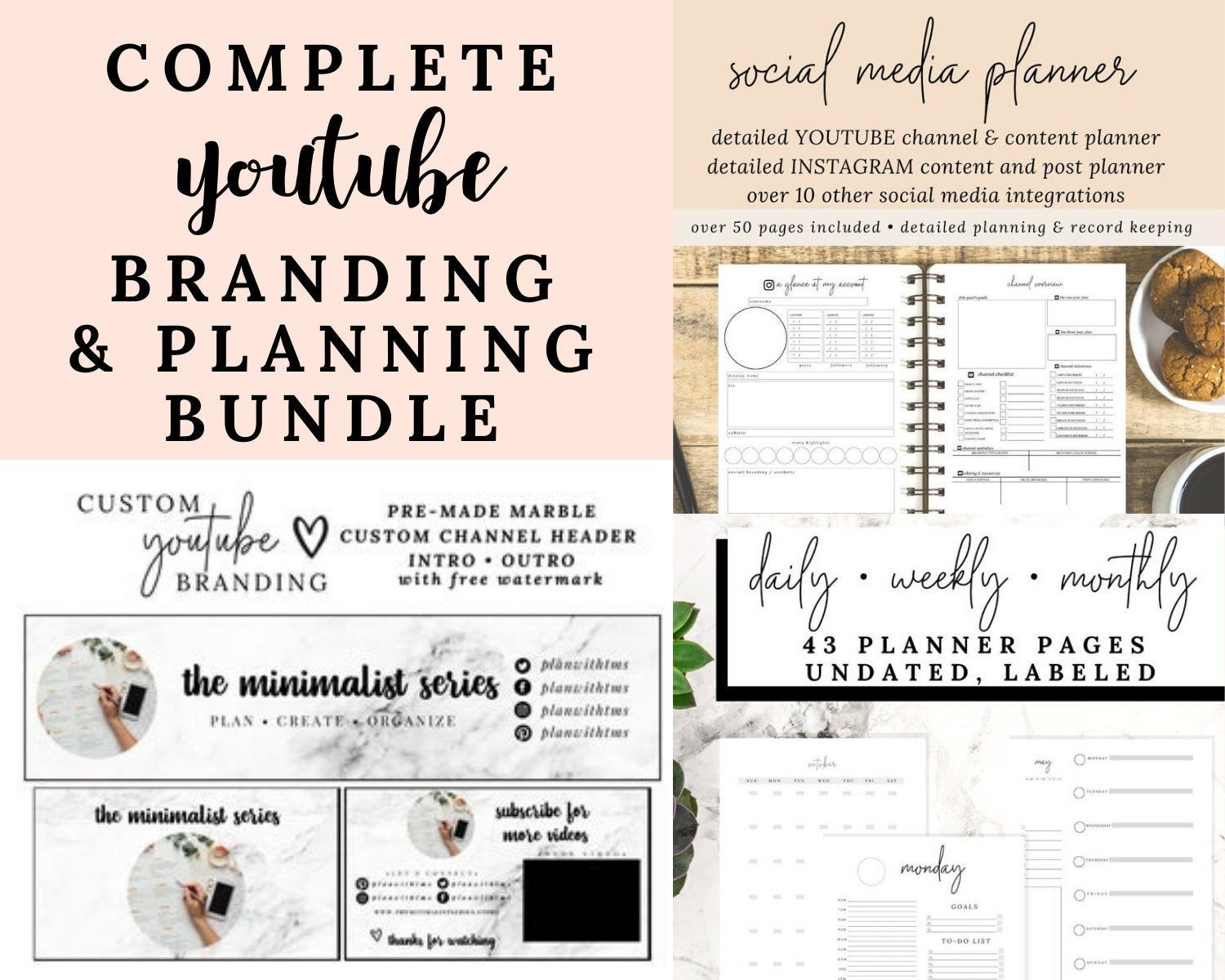 Bundle Custom Branding And Planner Youtube Channel Banner Header Video Intro And Video Outro With You Social Media Planner Planner Youtube Custom Branding