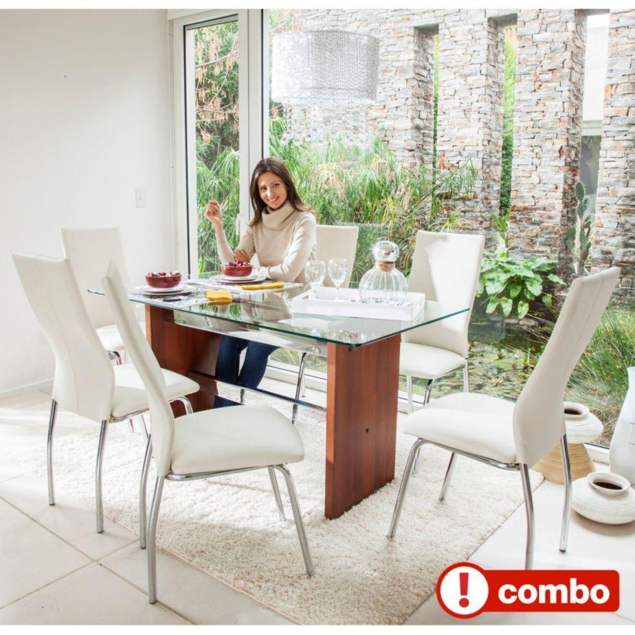 SM Juego de comedor mesa de vidrio cedro + 6 sillas London crudo | House