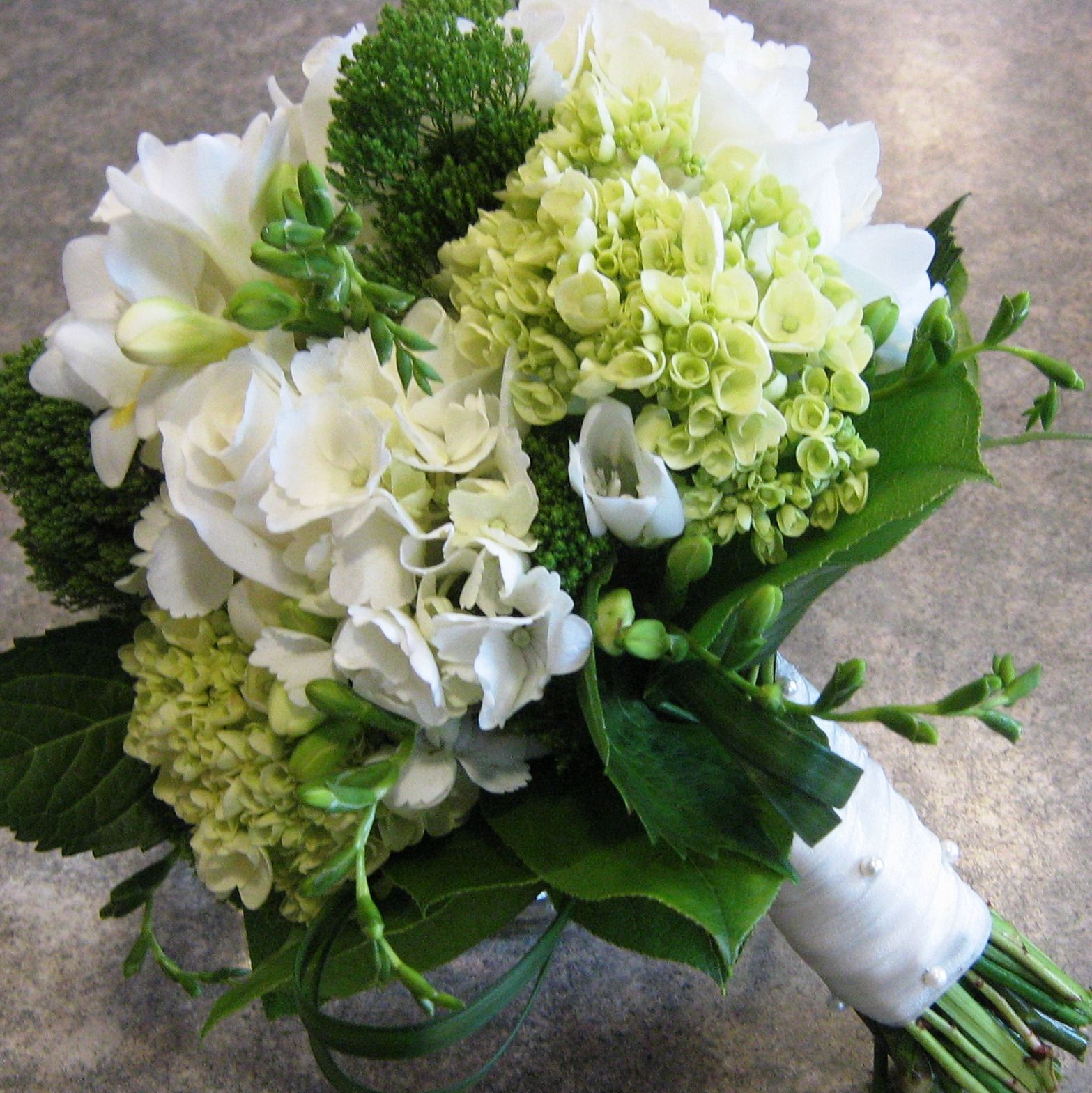 Wedding bouquet with hydrangea roses freesia and trachelium flower bouquets izmirmasajfo Gallery