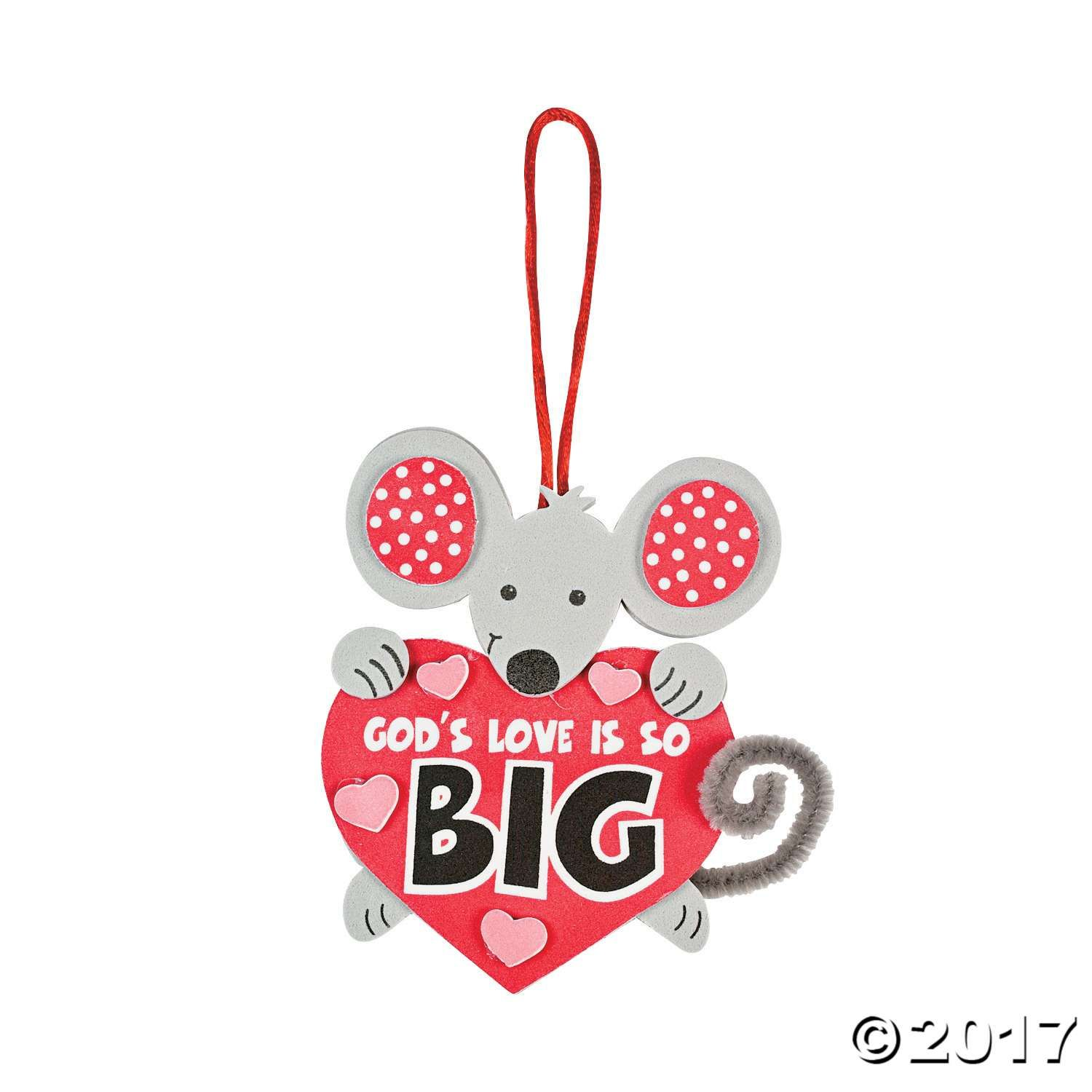 """God's Love Is So Big"" Mouse Craft Kit for Valentines's Day, Sunday school  crafts and more. A little mouse with a big message! Includes ."