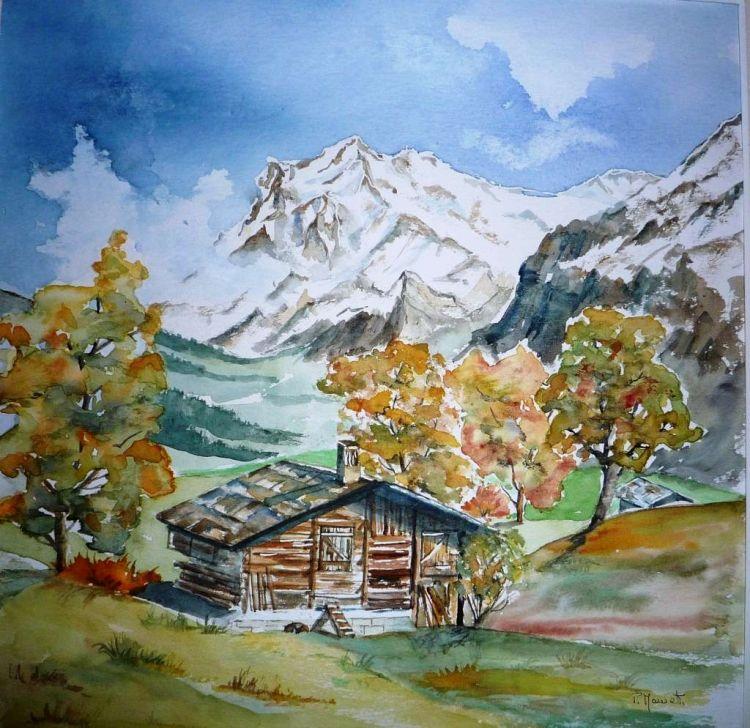 Tableau Peinture Paysage Automne Montagne Campagne Aquarelle