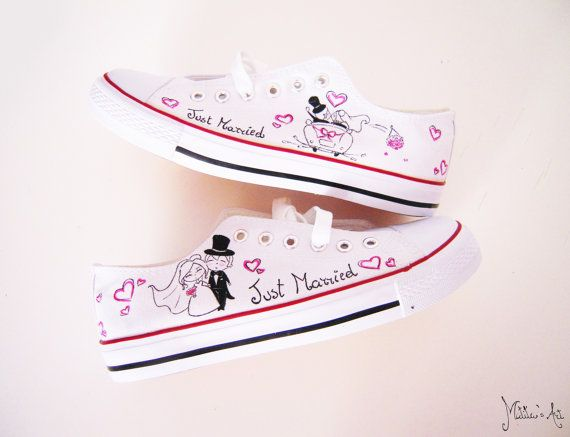 Details about Custom Converse Wedding Shoes Hand made bridal shoes, wedding sneakers.
