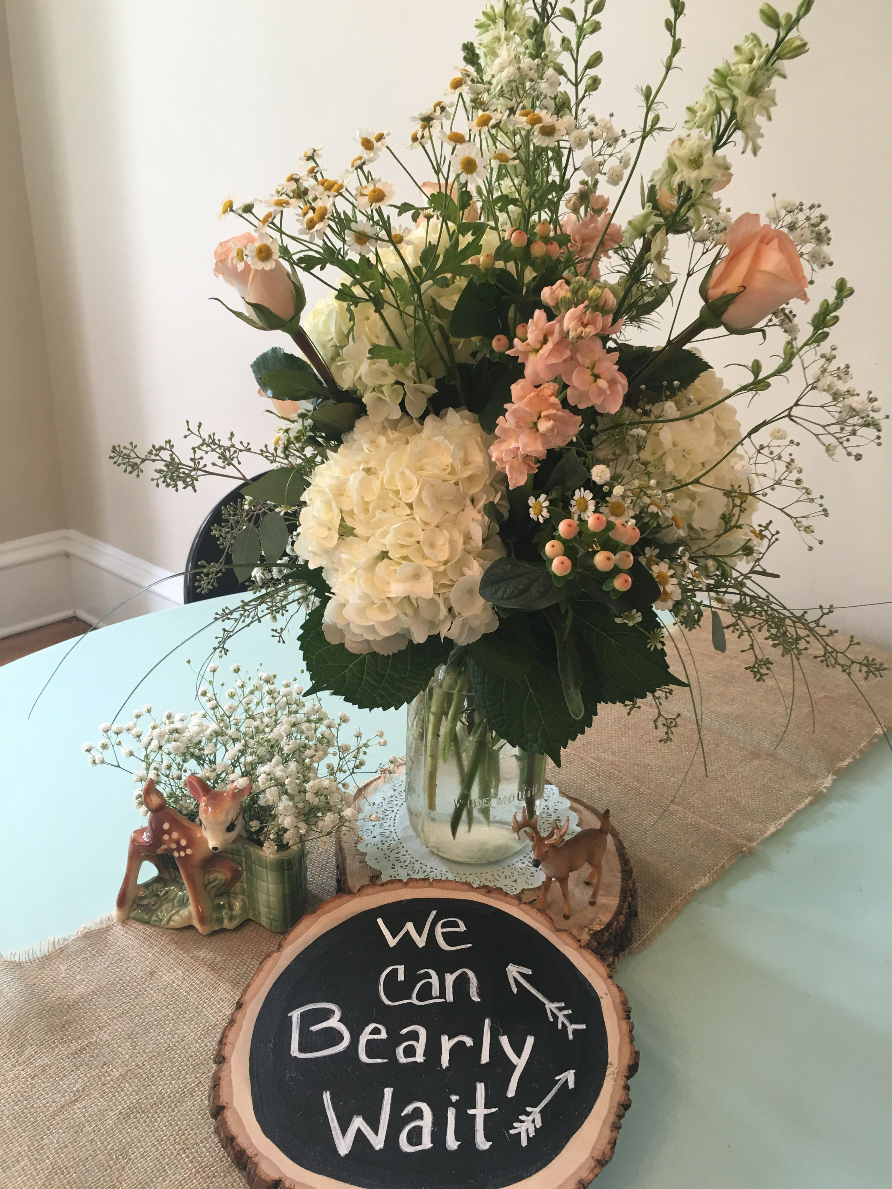 Just The Sign Baby Shower Woodland Theme Baby Shower Flowers