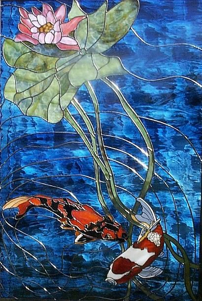 koi dance stained glass paned expressions studios stained glass and other beautiful glass. Black Bedroom Furniture Sets. Home Design Ideas