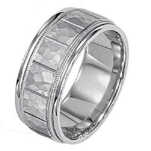 Mens 14k White Gold Wedding Band Ring Milgrain Hammered Finish 8mm Ebay Mens Silver Wedding Bands Rings Mens Wedding Bands Mens Wedding Bands White Gold