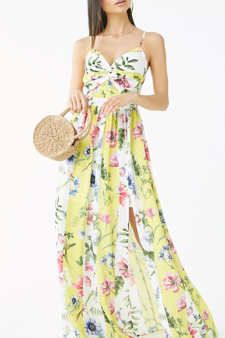 4ee793f12a14 Floral   Striped Twist-Front Maxi Dress in 2019
