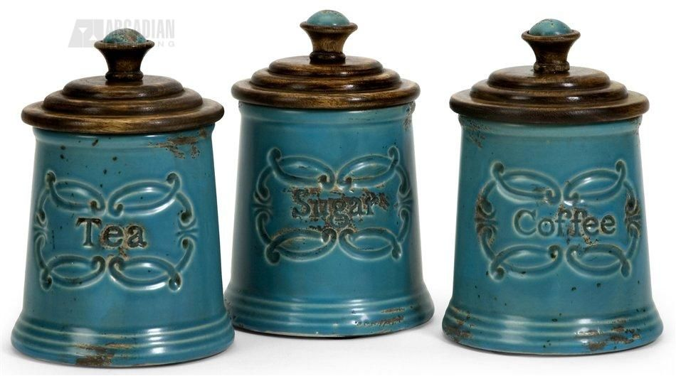 Imax 5506 3 Provincial Canister Set Pack Of 3 Ix 5506 3 Teal