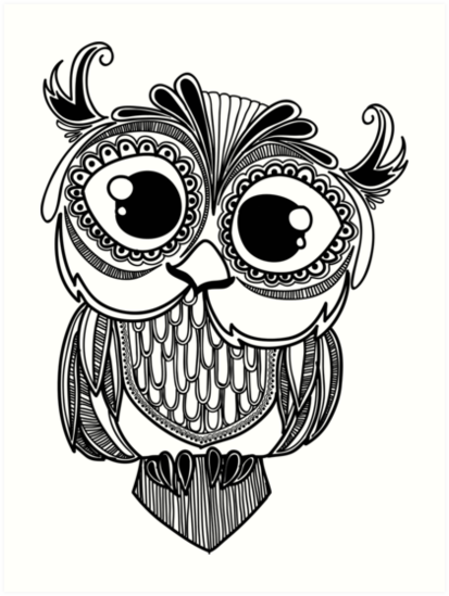 Coloriage mandala hibou zentangle draw it pinterest - Dessins hibou ...