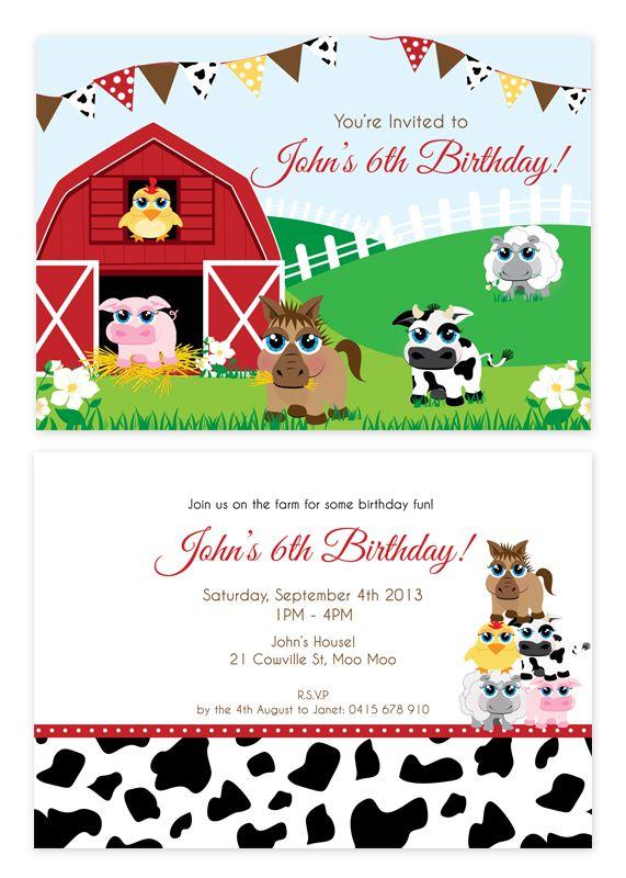 10+ images about 1st birthday invites on Pinterest | Farm animal ...