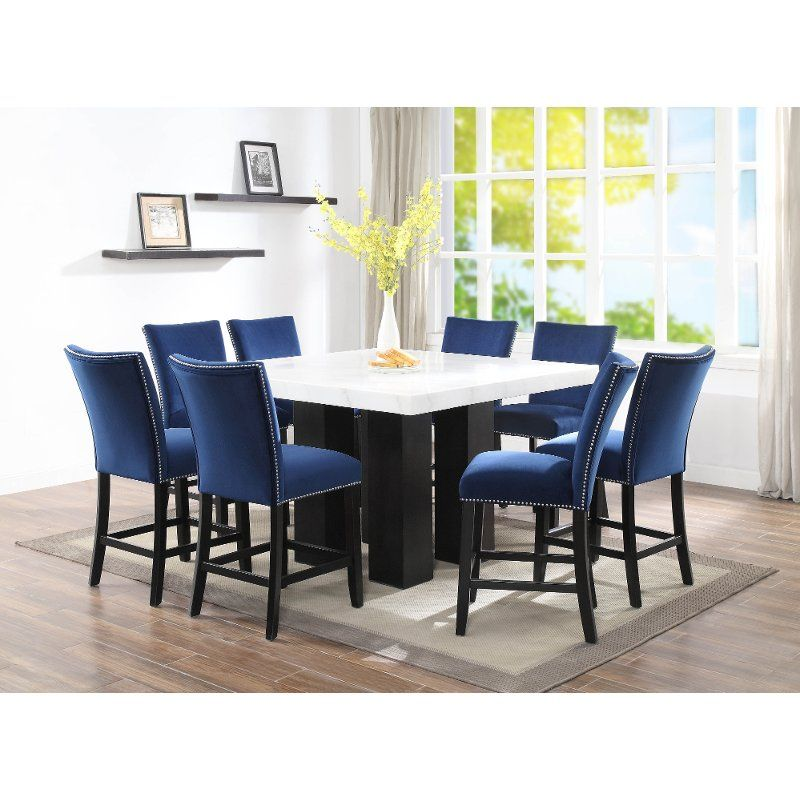 Marble And Black Counter Height Dining Table Camila In 2020 Counter Height Dining Sets Counter Height Dining Table Dining Table