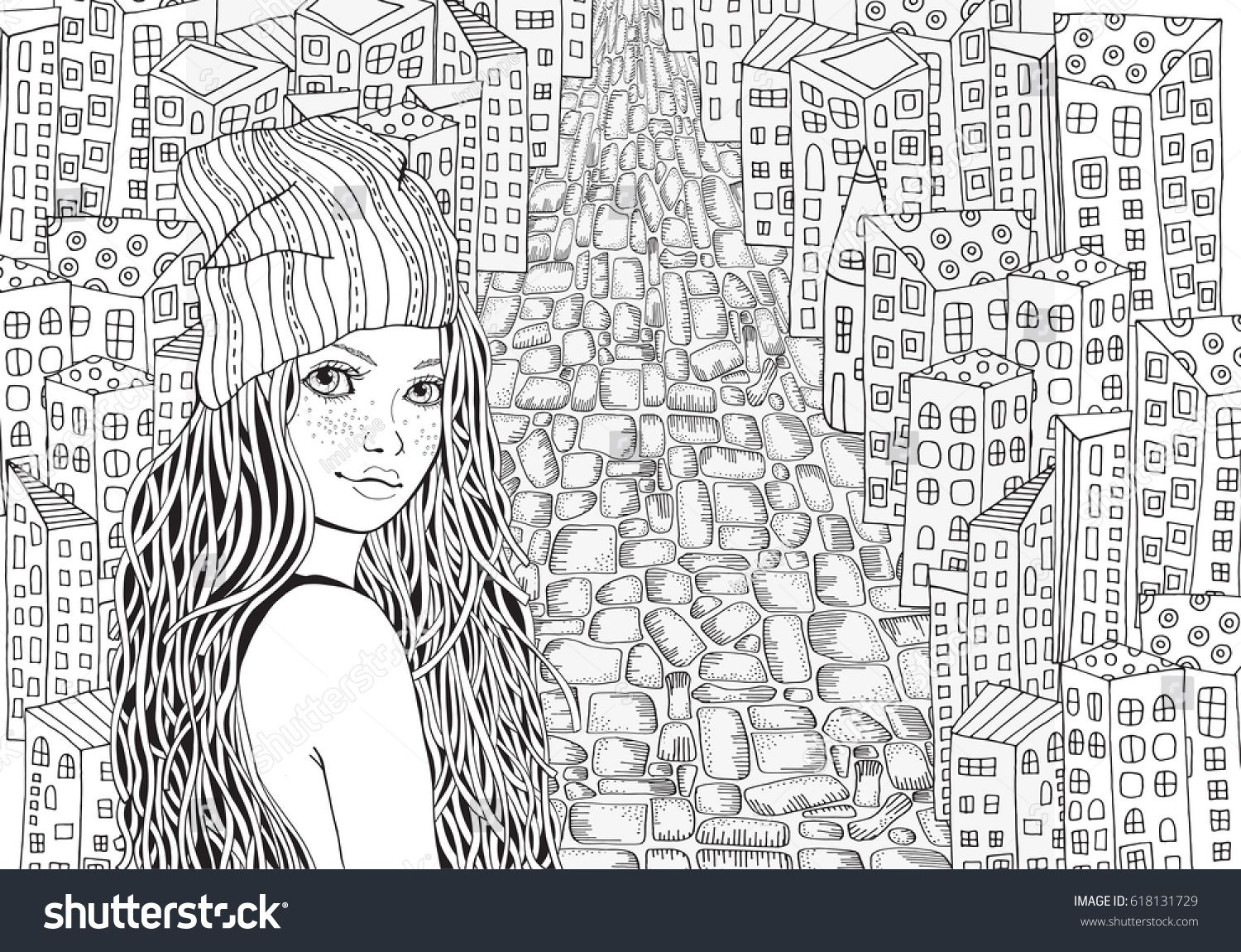 Pattern For Coloring Book City Houses Street Background Vector Sketch Hand Drawn Illustration Zentangle Patterns Adult Page