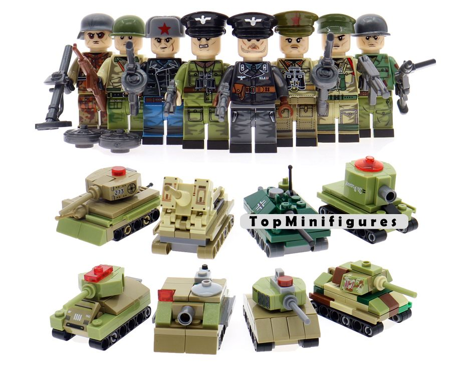 WWII British Army Soldier Military War Set minifigure blocks Weapons Fit Lego